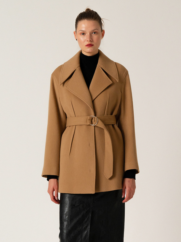 Wide Collar Half Coat / Beige