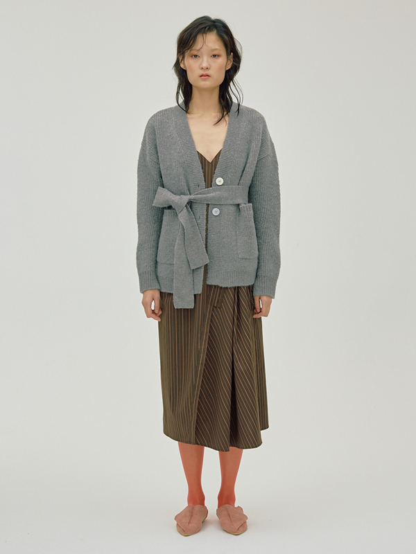 Mohair Belted Cardigan + Button Stripe Dress