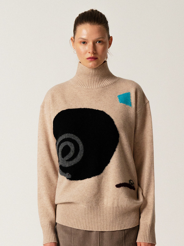 Intarsia Turtleneck Top / Beige