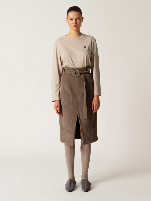 Signature Logo T + Corduroy Belt Skirt