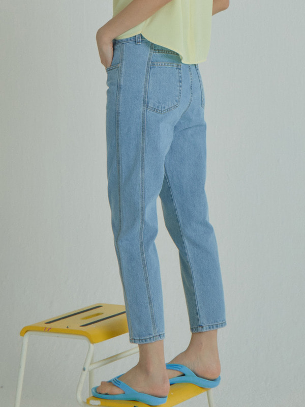 Side Blocking Denim Pants / Light Blue