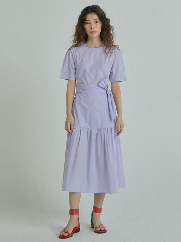 Wide Strap Shirring Dress / Lavender