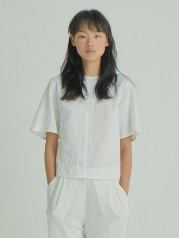 Cross Shirring Top / White