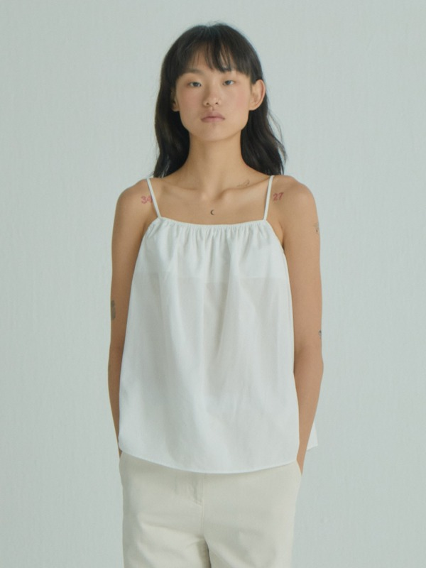 Strappy Shirring Top / White