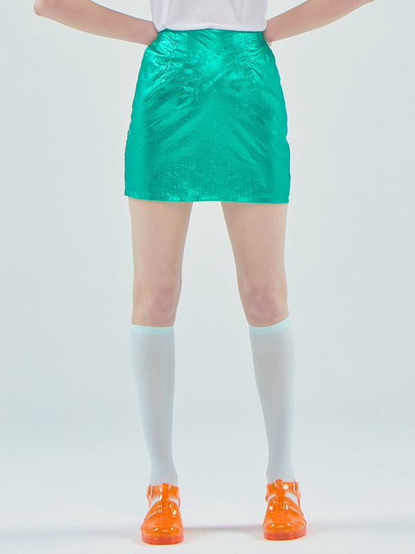Foil mini skirt / Green