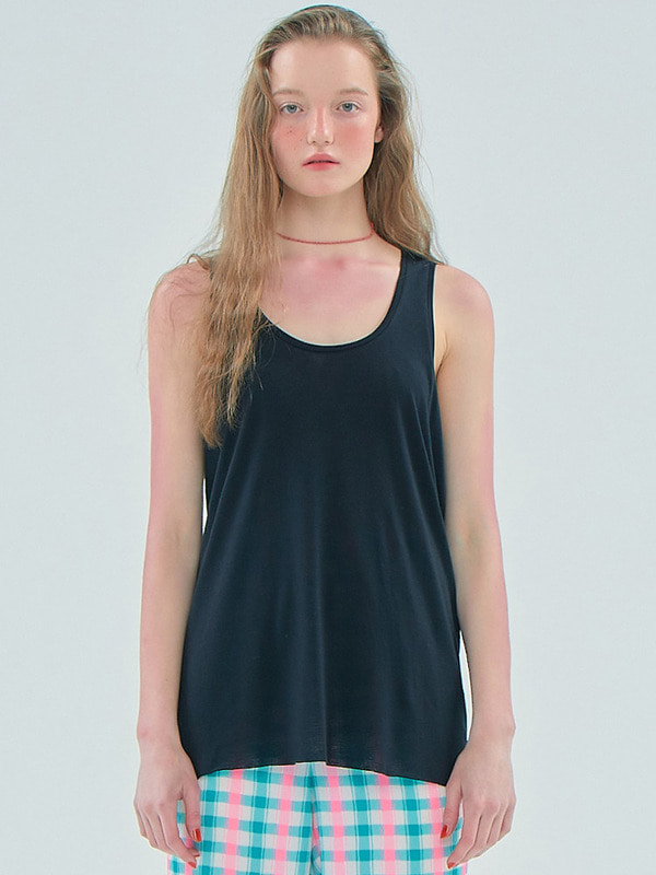 Basic Sheer Sleeveless T / Black
