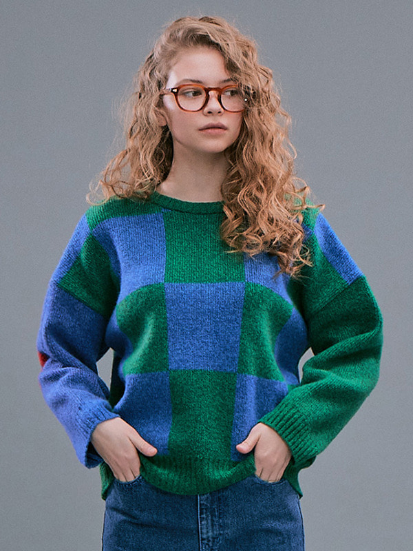 Check Jacquard Sweater / Green