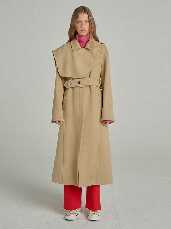 Removable Cape Coat / Light Beige