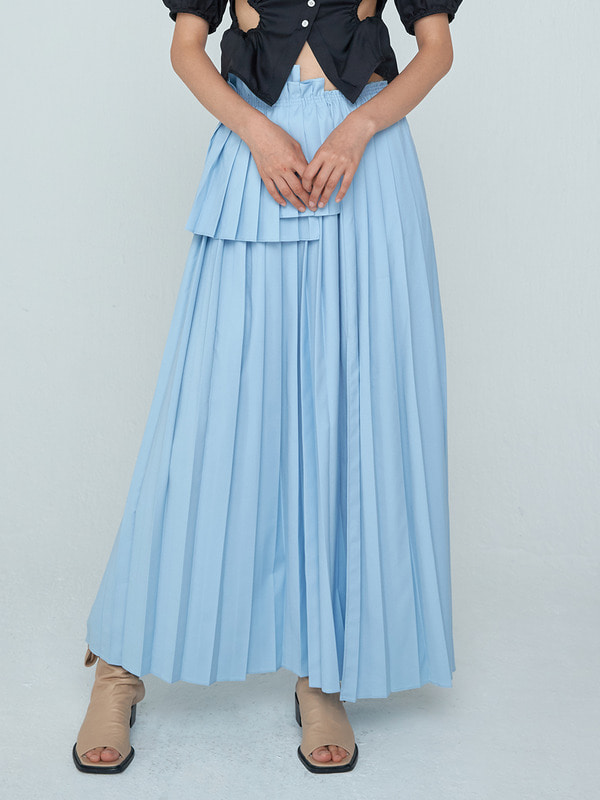Long Pleats Skirt_Blue
