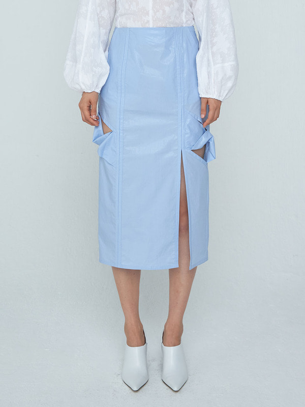 Twist Long H-line Skirt_Light Blue