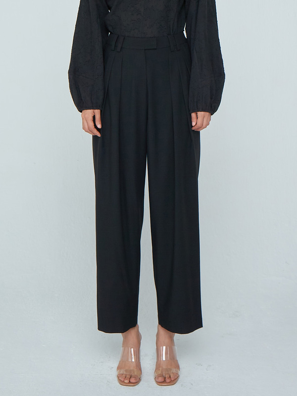 Zigzag Wide Trousers_Black
