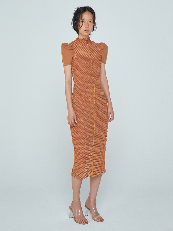 Curved Arm Coloration Dress_Orange Brown