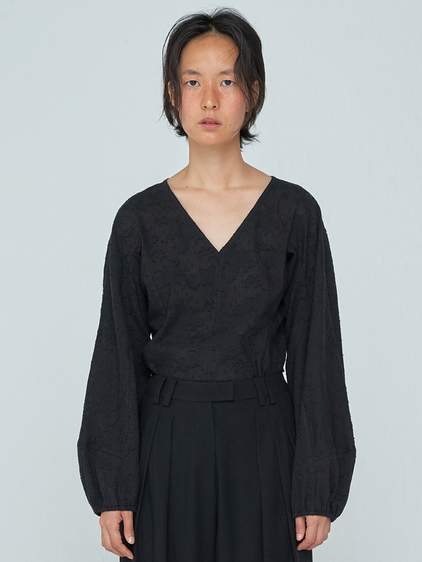 Shirring Long Sleeve Top_Black